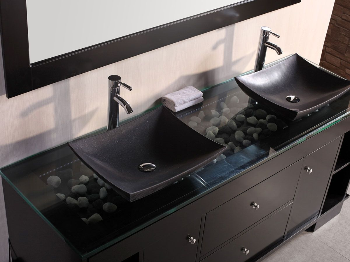 72 Oasis Double Vessel Sink Vanity Black Bathroom Sink Black Vanity Bathroom Double Sink Bathroom