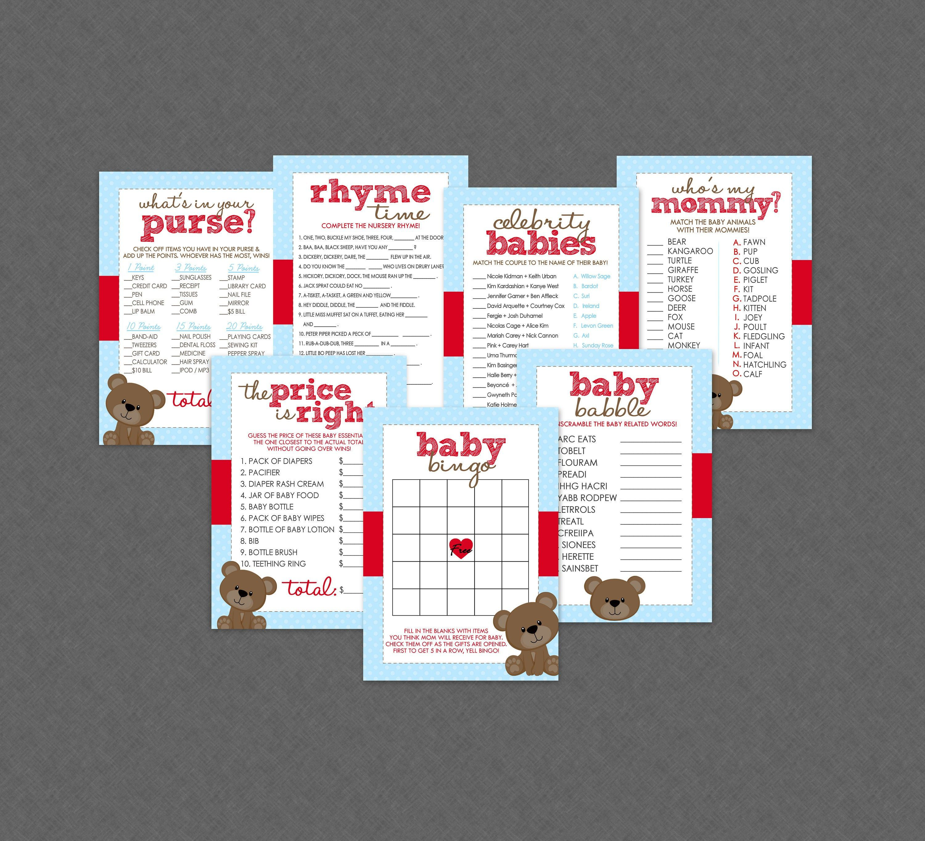 Teddy Bear Baby Shower Games Party Pack of 7 + Answer Keys