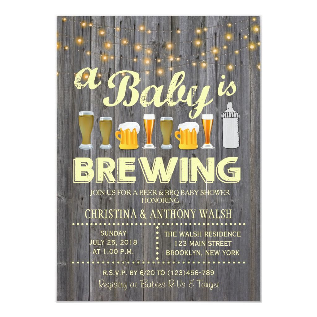 A baby is brewing baby shower bbq invitation