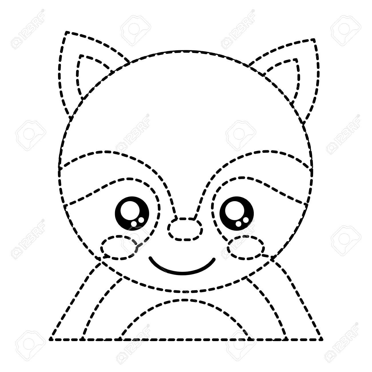 Raccoon Cute Animal Icon Image Vector Illustration Design