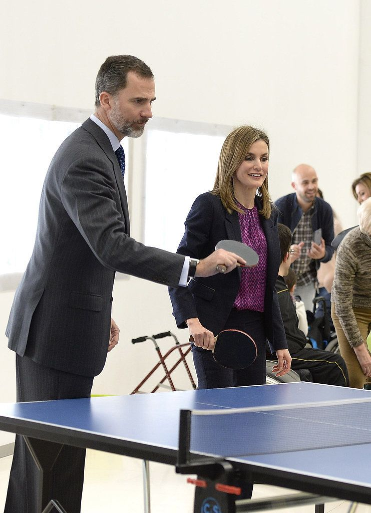 King Felipe VI and Queen Letizia play a game of Ping-Pong.