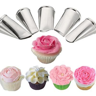5 Style Flower Petal Icing Piping Nozzles Tips Cake Decorating Baking Tools Piping Icing Petal Cake Cake Decorating Techniques