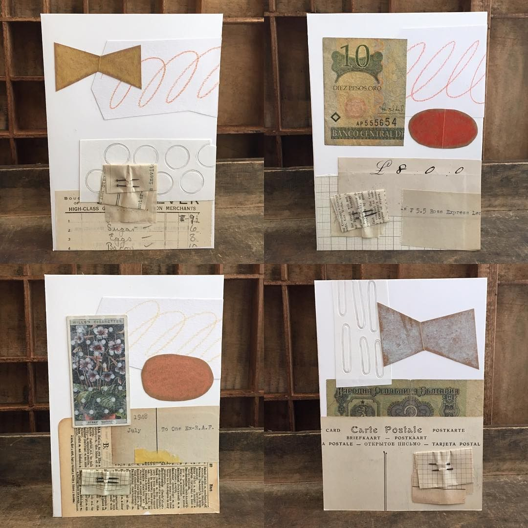 While I'm in a collage place I've a new stock of my Element cards in the shop . . . #handmade #cards #collage #ephemera #elements #studio20a #clarehillerby #upstairs #thiswayup
