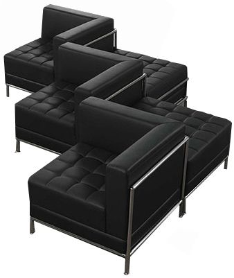Fine Black Tufted Modular 5 Seat Zig Zag Sofa Gym Office Ideas Pdpeps Interior Chair Design Pdpepsorg