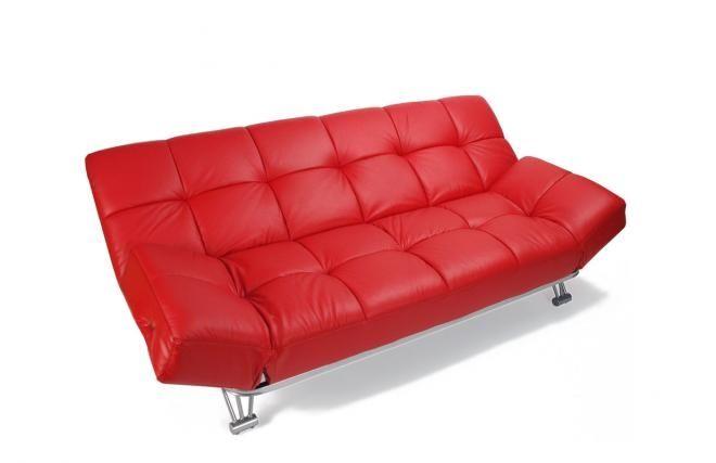 Sofa cama 3 plazas manhattan color rojo cuero zoom - Sofa cama rojo ...