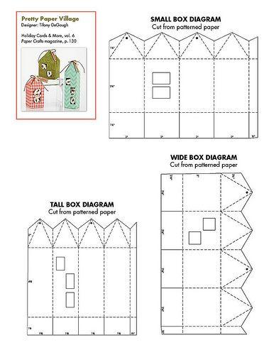 Free paper village pattern patterns for cards card - Maison en papier a imprimer ...