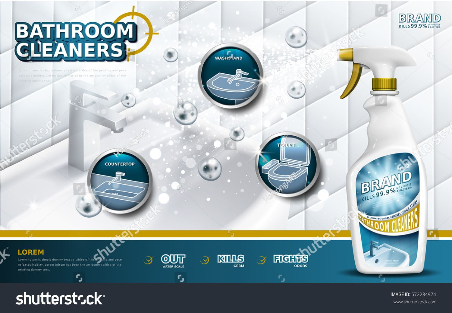 Bathroom Cleaners Ads Spray Bottle With Detergent Liquid Used For
