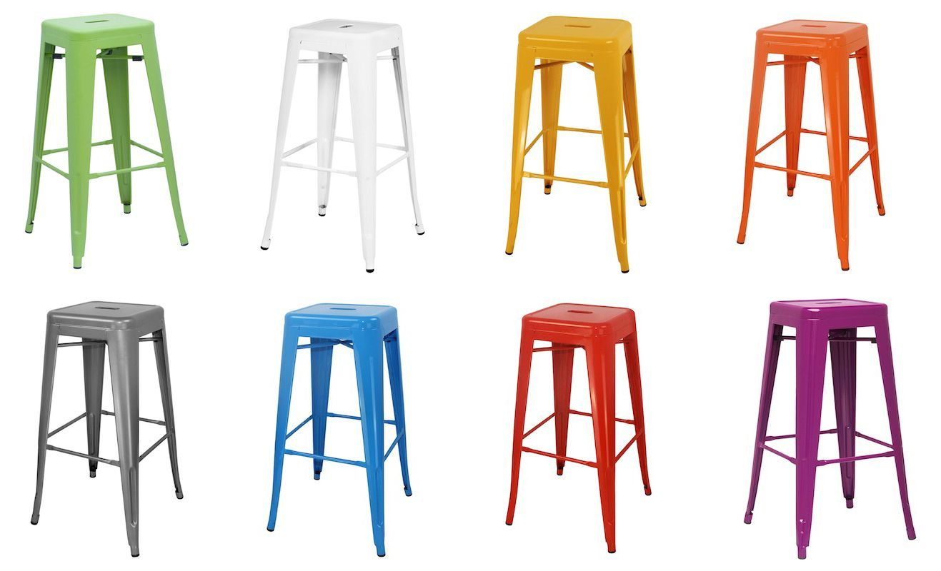 Catchy Colors Of Lacquered Industrial Bar Stools Design
