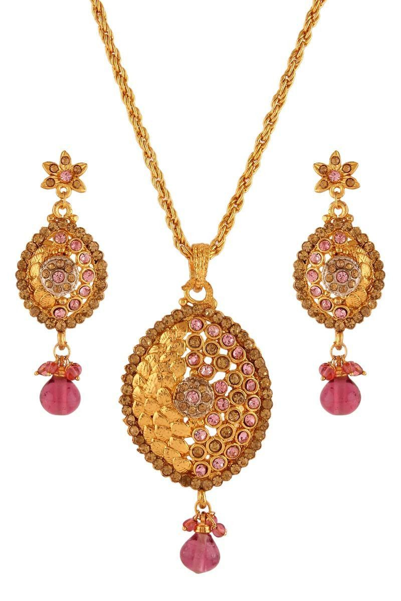 Pink gold plated austrian diamond pendant set diamond pendant