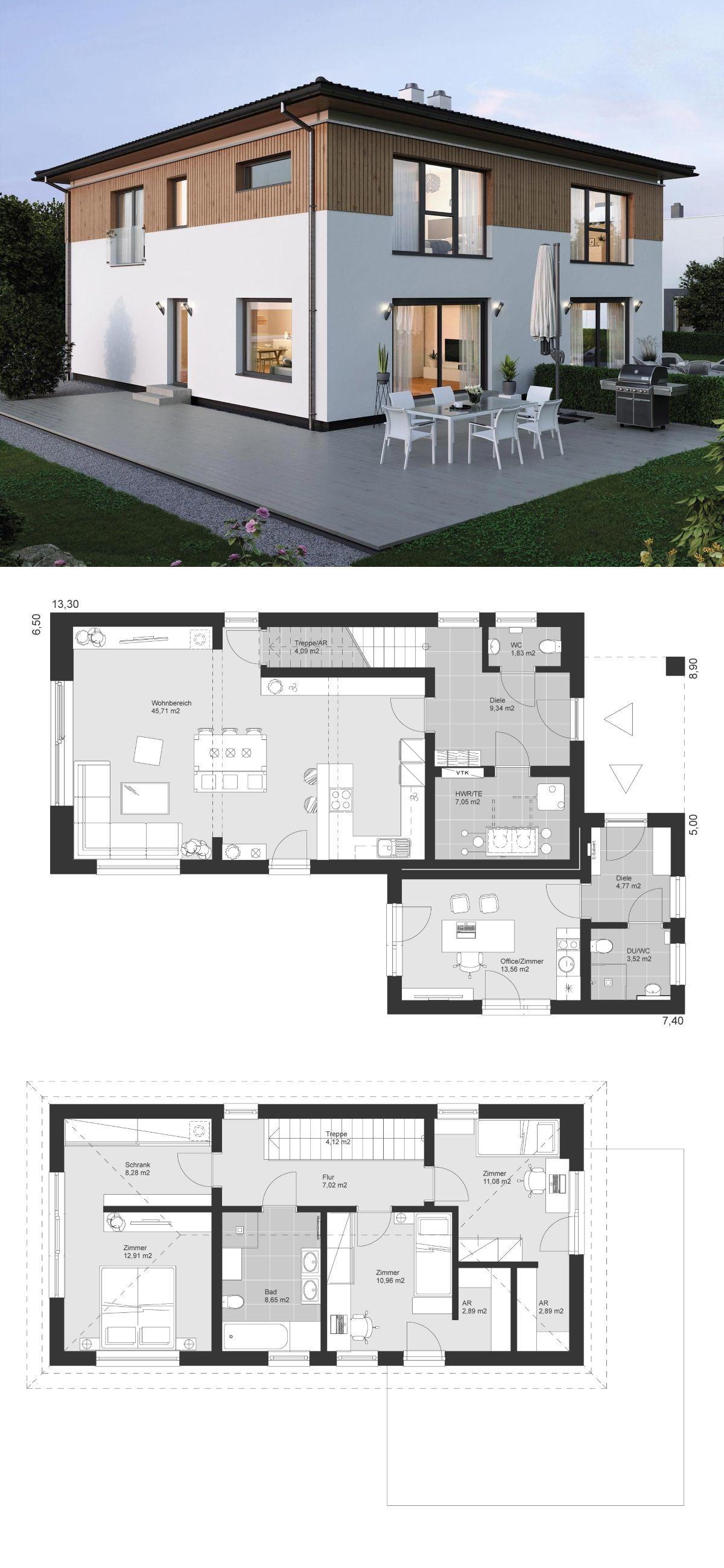Einfamilienhaus Grundriss schmal mit Walmdach Architektur