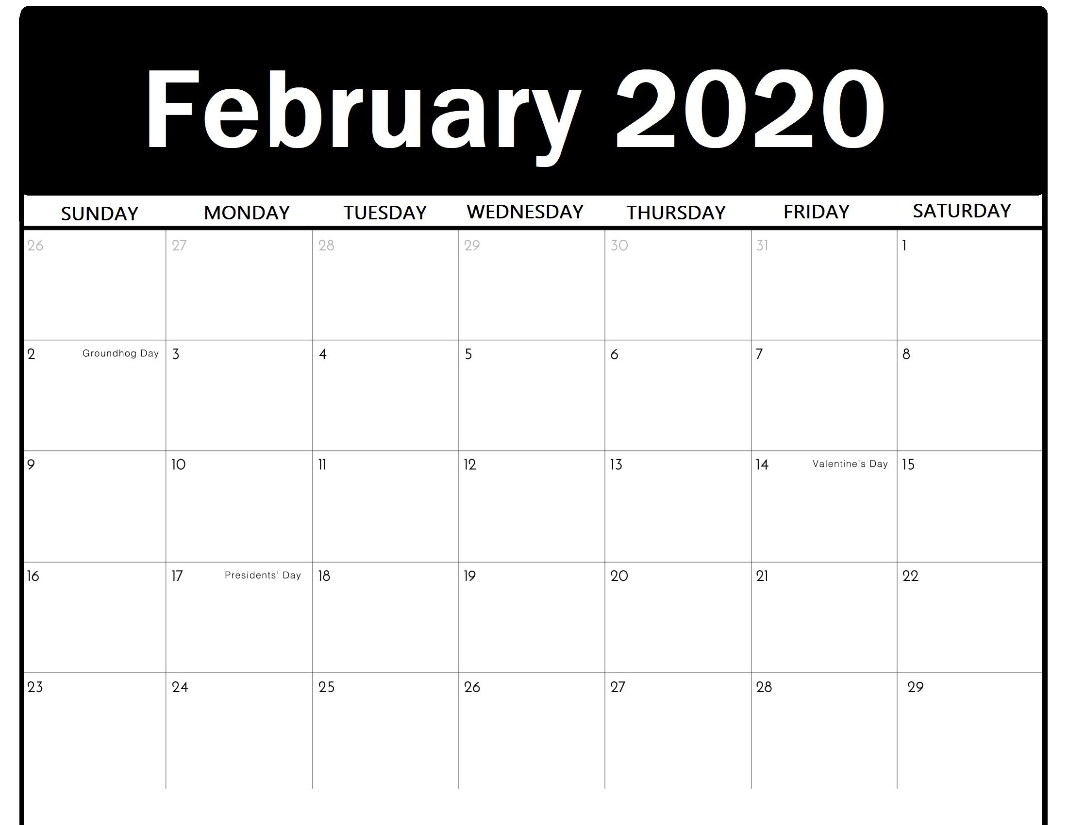 Editable February 2020 Calendar Monthly Fillable Template With
