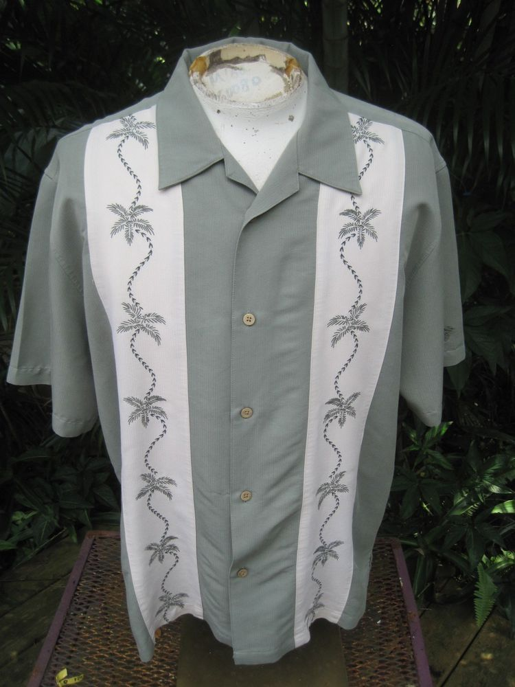 c200c178e Mens Shirt PANEL Pit to Pit 26 CUBAVERA rayon poly embroidered green  offwhite #Cubavera #ButtonFront