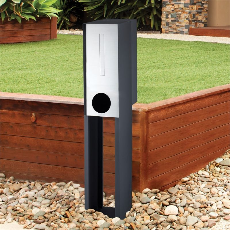 Sandleford Black Stainless Steel Empire Pillar Letterbox