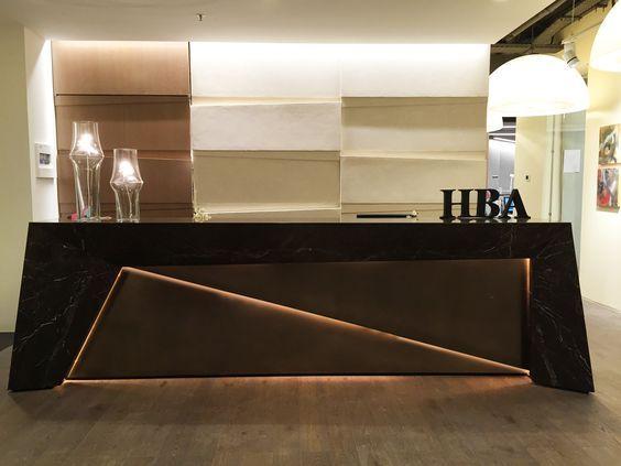 HBA Dubai Office Reception Desk And Walls Design By Me.