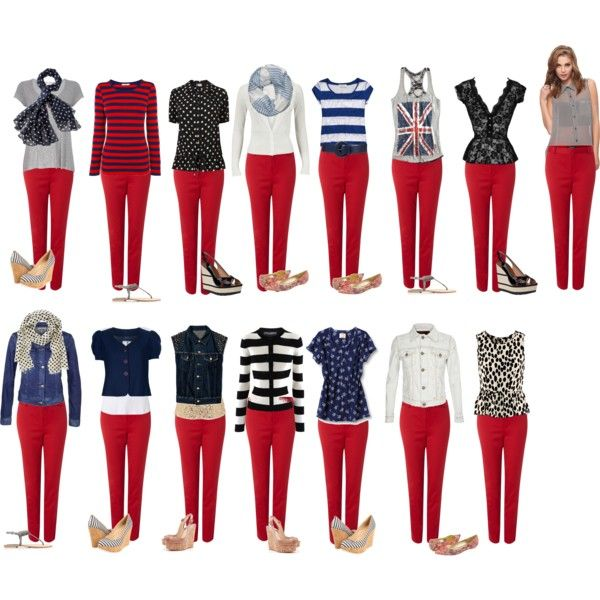 Capsule Wardrobe S3 in 2020   Red jeans outfit, Red pants