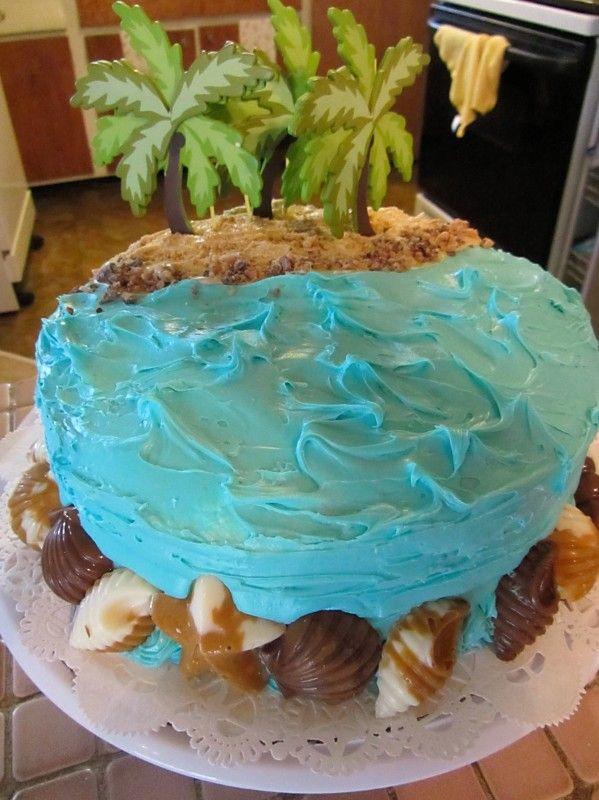 Ocean Beach Theme Cake With Images Ocean Cakes Beach Themed