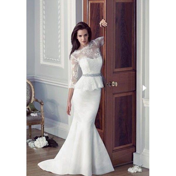 Lace Long Sleeves Peplum Wedding Dress