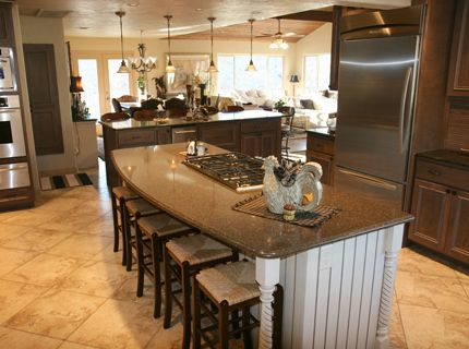 This is my ideal kitchen Gas range on the island with bar stools