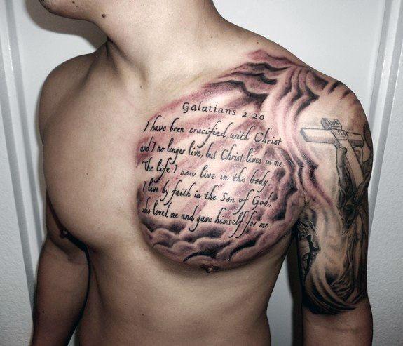 Top 43 Bible Verse Tattoo Ideas 2020 Inspiration Guide Chest Tattoo Men Cool Chest Tattoos Verse Tattoos