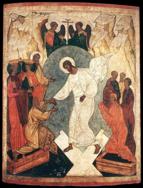 Unknown Russian Icon painter. Resurrection of Christ and the Harrowing of Hell. 1500s.