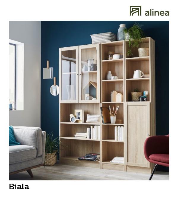 Alinea Biala Bibliotheque Avec Portes Coloris Chene Clair L159cm Meubles Salon Bibliotheques Et Eta Decoration Maison Mobilier De Salon Bibliotheque Chene
