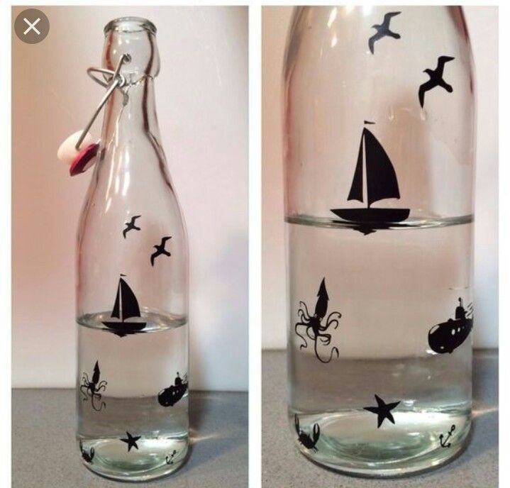 Ocean Sky Scene In Bottle With Water Added Glass Bottle