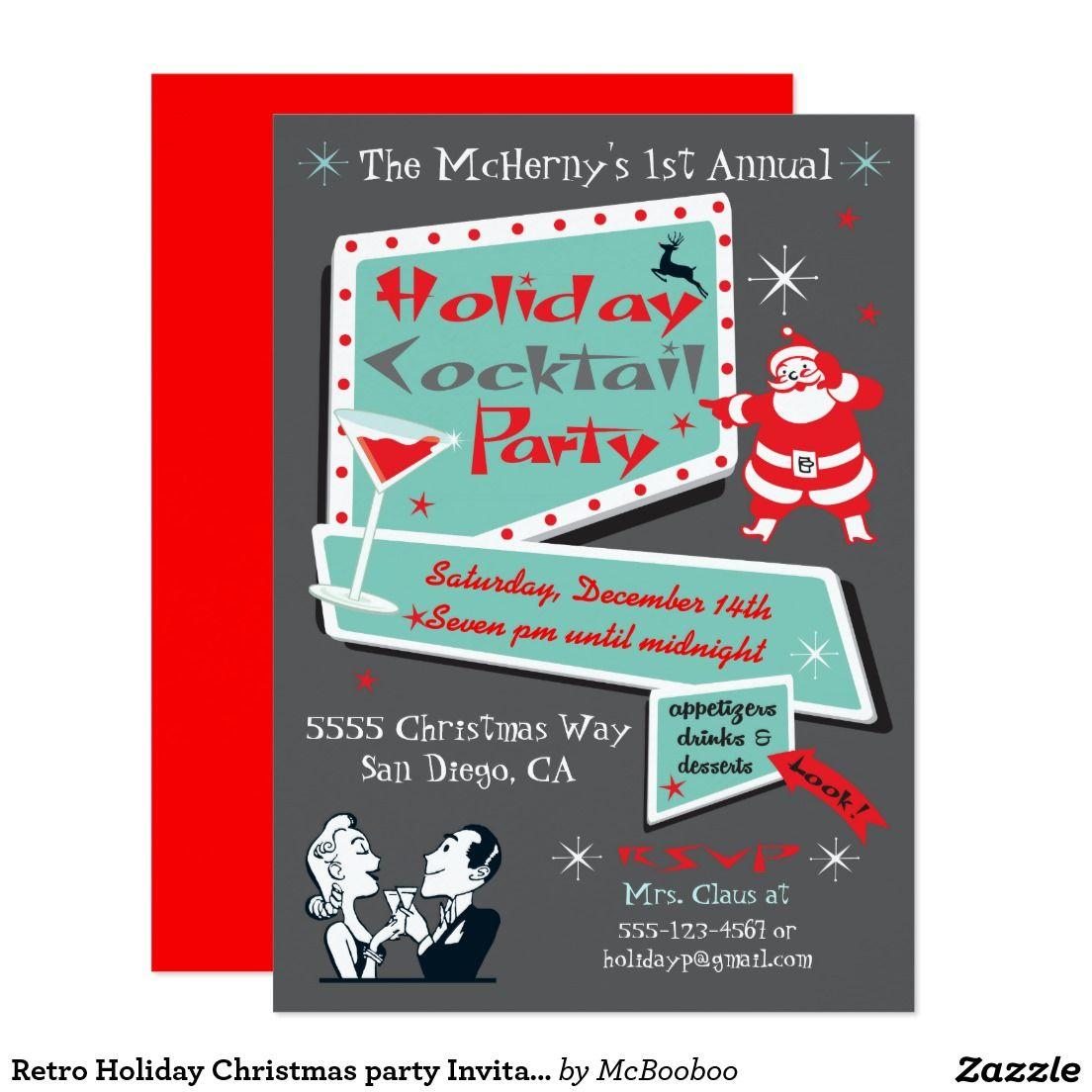 Retro Holiday Christmas party Invitations | Christmas parties ...