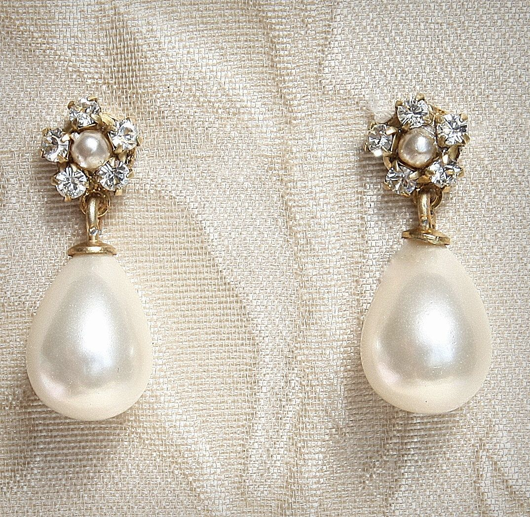 Pearl Bridal Earrings Jewelry Vintage Rhinestone Gold Post