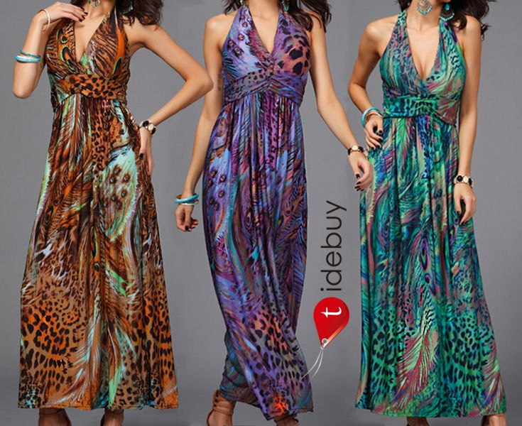 Pfau-Druck Maxi Kleid. Großer Rabatt 70% OFF, nur 13,99, kann nicht verpassen