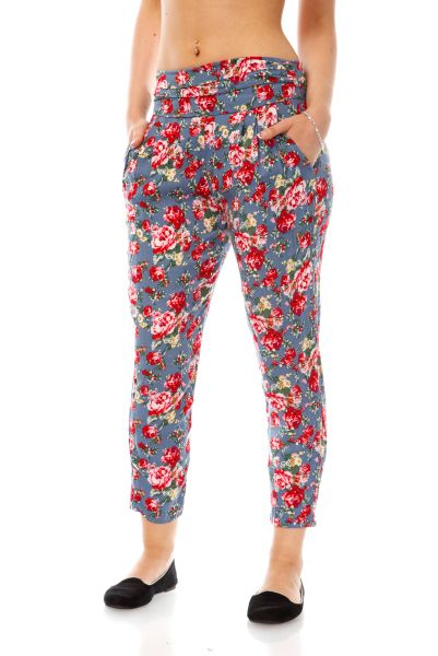 Rose Pattern Loose Fit Trousers