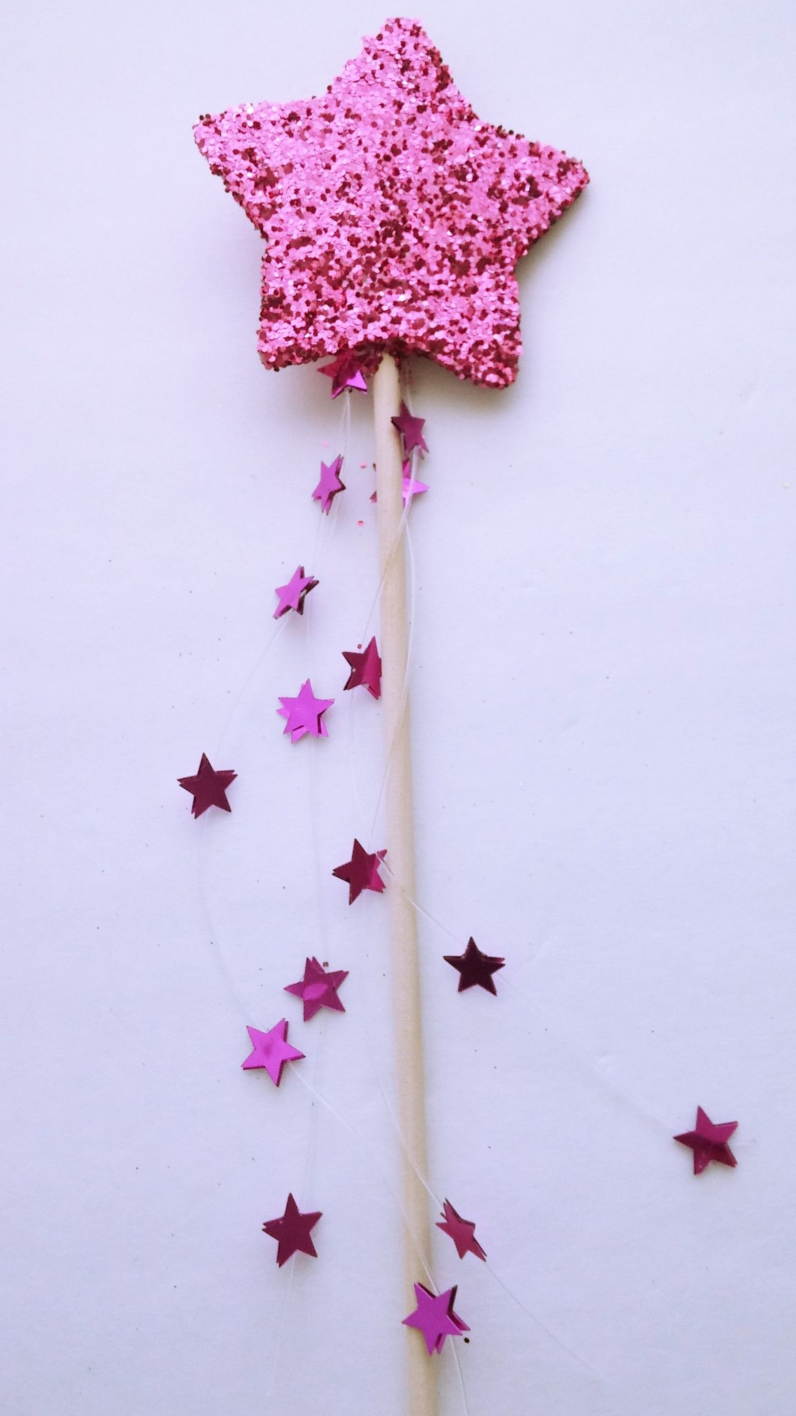3 x pink fairy wands with hanging ribbon for parties or fancy dress