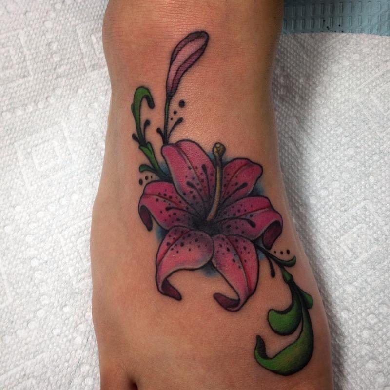 Tiger Lily Tattoo On Right Foot   Tiger Tattoo On Foot ...