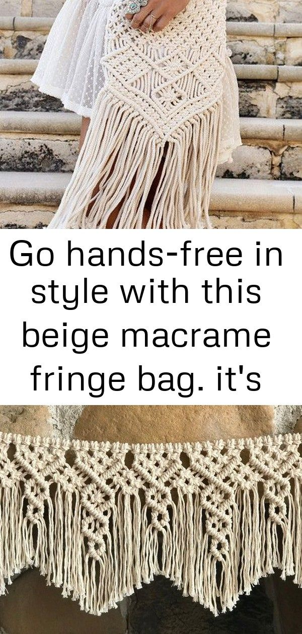 Go handsfree in style with this beige macrame fringe bag its made of cotton blend and features 9 Go handsfree in style with this beige macrame fringe bag Its made of cott...