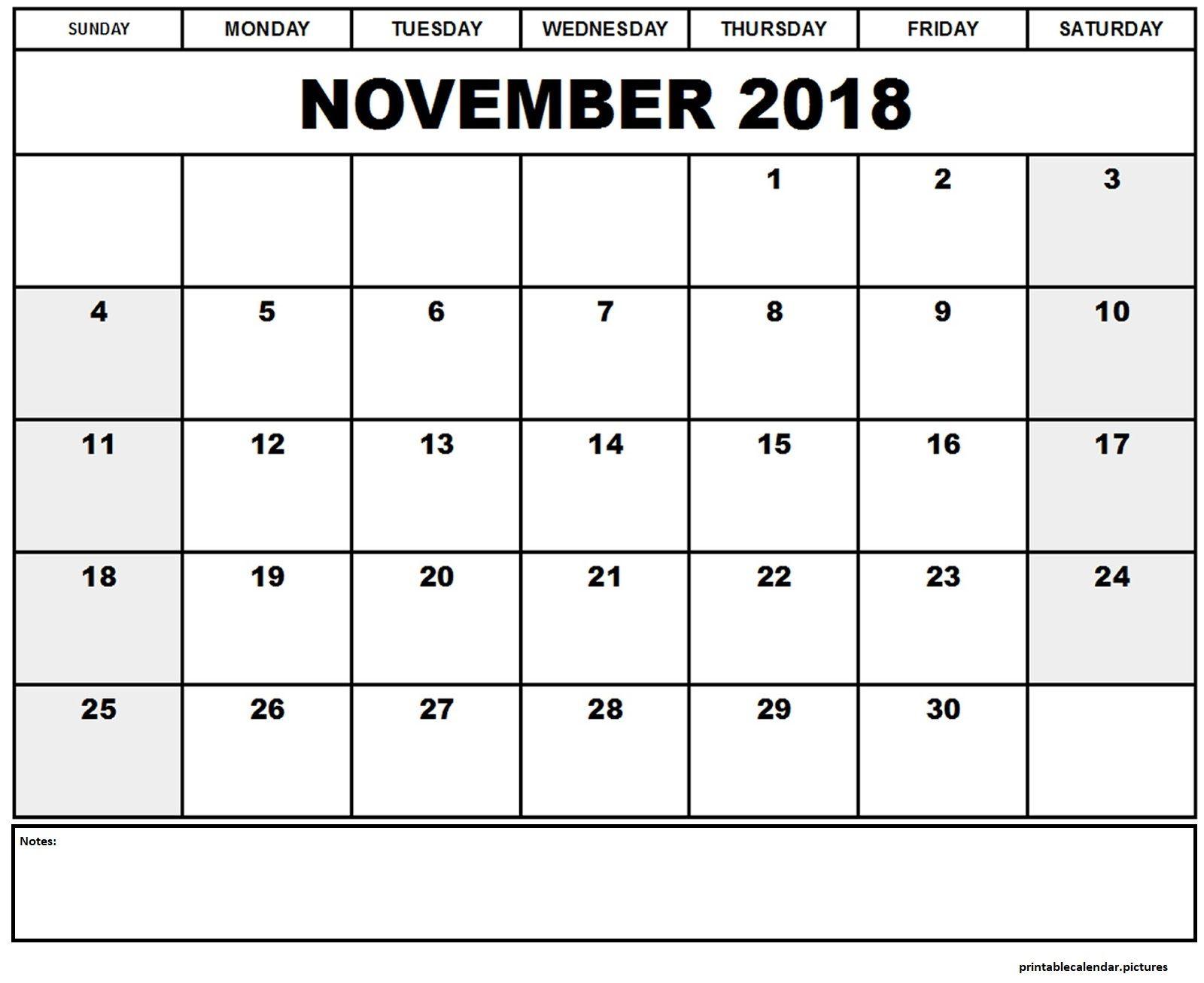 Blank November Calendar