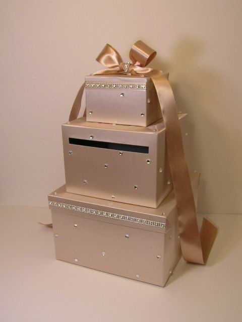 Wedding Card Box Champagne and Burgundy Gift Card Box Money Box ...