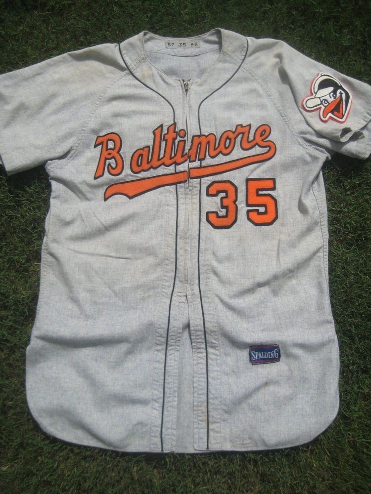b7687cd994c 1957 Baltimore Orioles George Zuverink Game Worn Road Flannel Jersey  Spalding