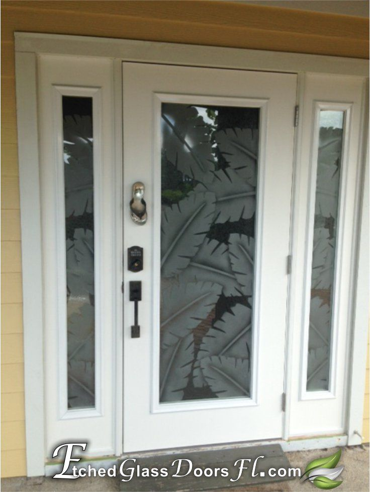 Hurricane Impact Etched Glass Door With Palm Leafs All Our Designs Can Be Used On Impact Glass Https Etchedglass Etched Glass Door Glass Door Glass Etching