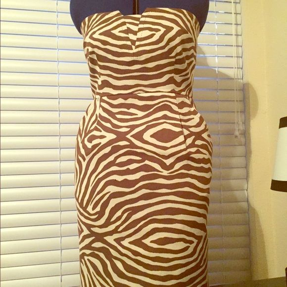 Kate Spade Matilda dress Strapless zebra print with gold zipper. Great condition, worn once to an event. Perfect for spring/summer! kate spade Dresses Strapless
