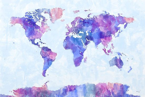 Map Of The World Map Watercolor Painting Photographic Print By Michael Tompsett Map Wall Mural Map Painting Painting