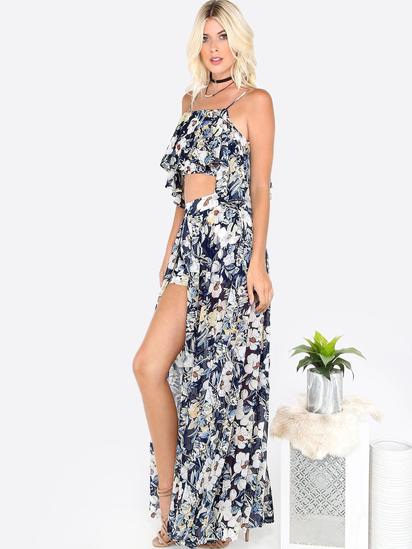 Collection assorti maxi floral avec couche - bleu -French SheIn(Sheinside)