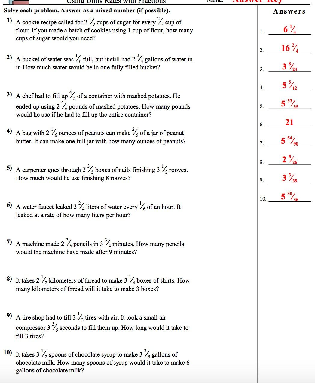 Pin By Cassie Kennedy On 7th Grade Compacted Math Fractions Worksheets Unit Rate Worksheet Common Core Worksheets
