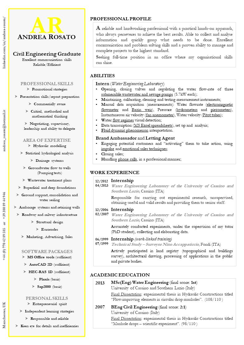 Pin di Andrea Rosato su CV Curriculum vitae Resume
