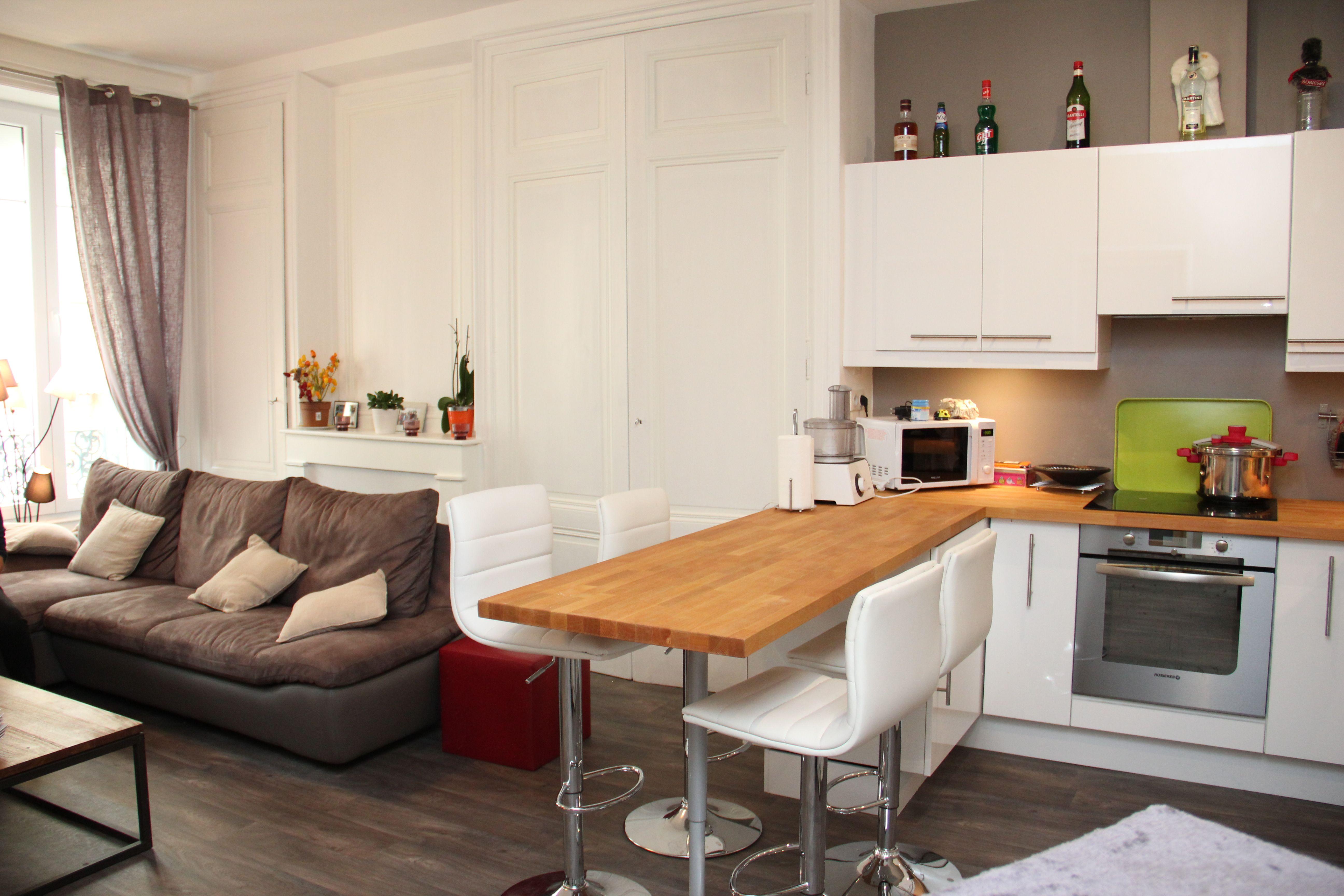 cuisine ouverte 11m11 en 1111  Aménagement petit salon, Salle à