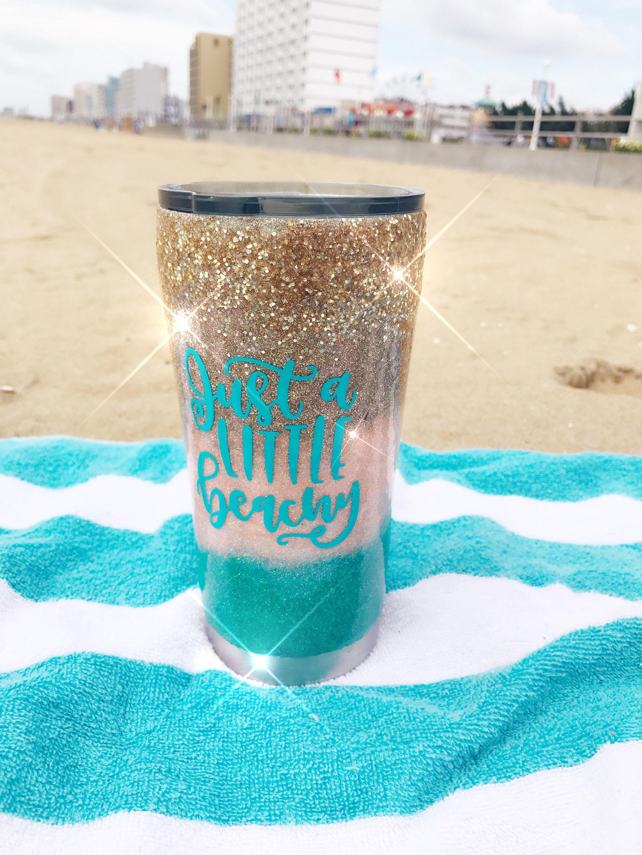 Glitter Tumbler Cup Beach Ocean Sea Shell Mermaid Handmade Insulated Summer