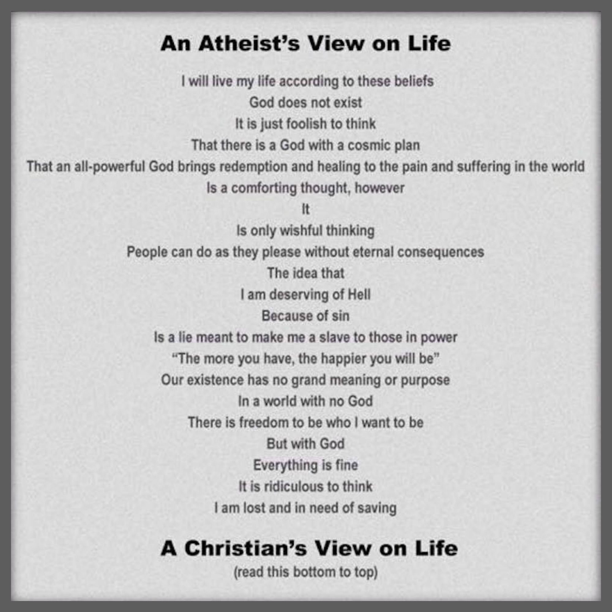 An atheist and a christian dating
