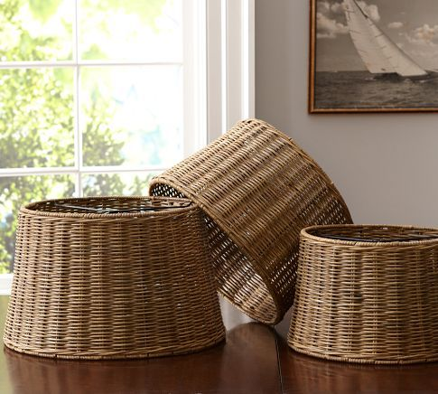 Woven Wicker Tapered Drum Lamp Shade Pottery Barn Basket Case