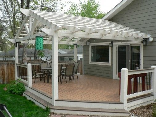 Two Toned Composite Decking Ground Level Deck With Painted Beetle Kill Pine Pergola Decked Out Deck With Pergola Pergola Pergola Attached To House