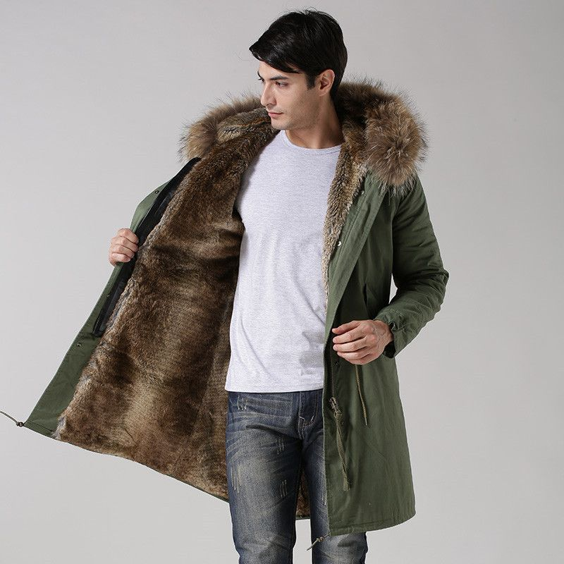 25c7dafcfaca Fashionable high end Italy style faux rabbit fur lining coats real raccoon  fur collar jacket winter men fur parkas-in Parkas from Men s Clothing ...
