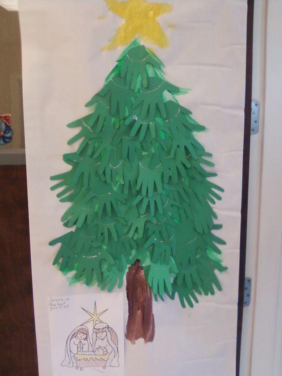 Same Christmas tree Classroom door decoration, different year