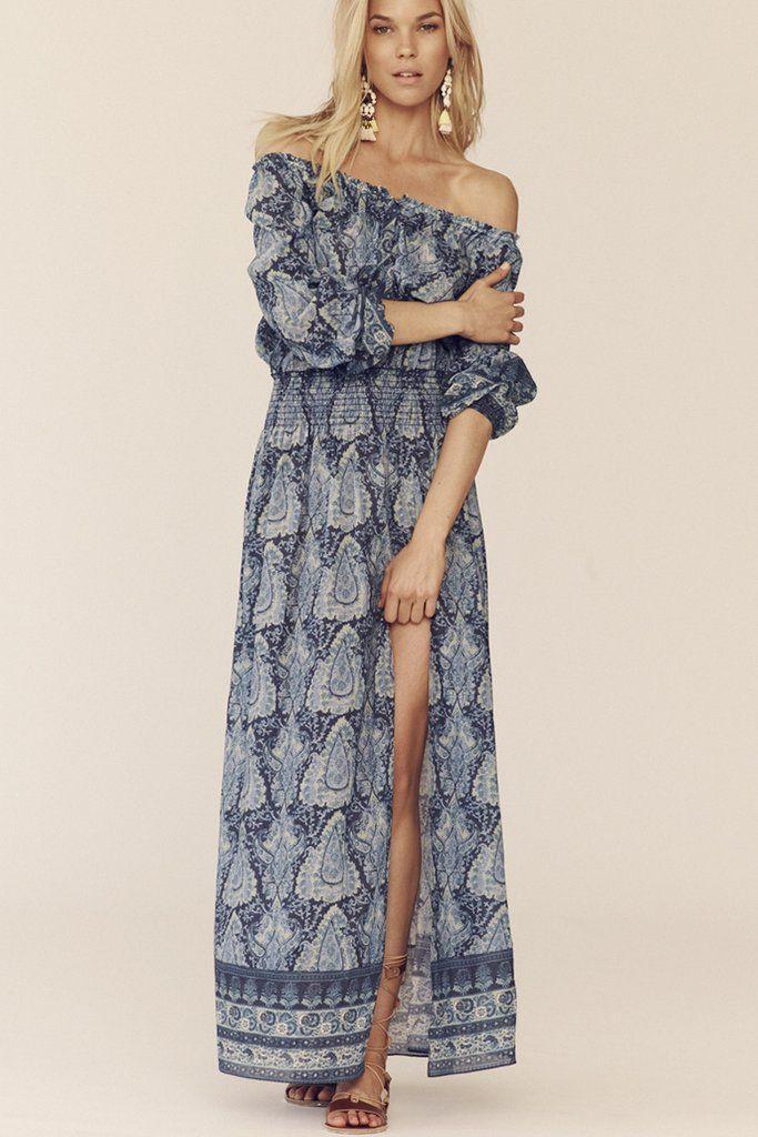 a0f688a78c30 Smocked Maxi Dress   sale  blue  cotton